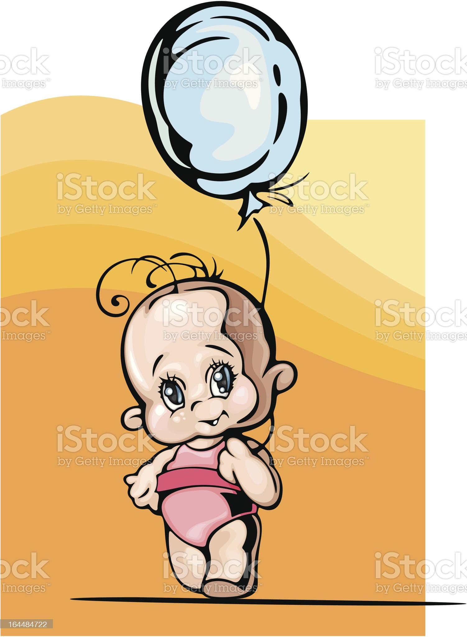 Cute Baby Girl Vector Illustration royalty-free stock vector art