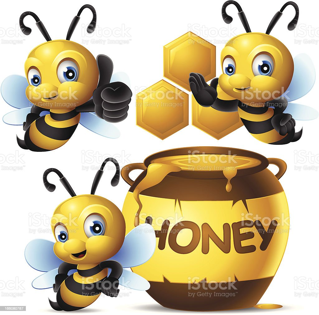 Cute Bee: 3 in 1 vector art illustration