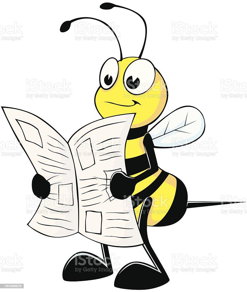 Cute Bee Reading Newspaper royalty-free stock vector art