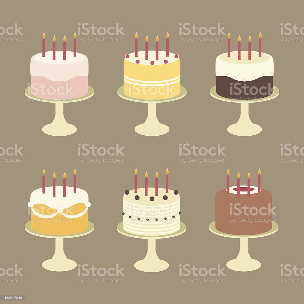 Cute Birthday Cakes with Candles on Cake Stands vector art illustration