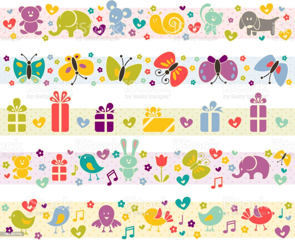Cute borders with baby icons. royalty-free stock vector art