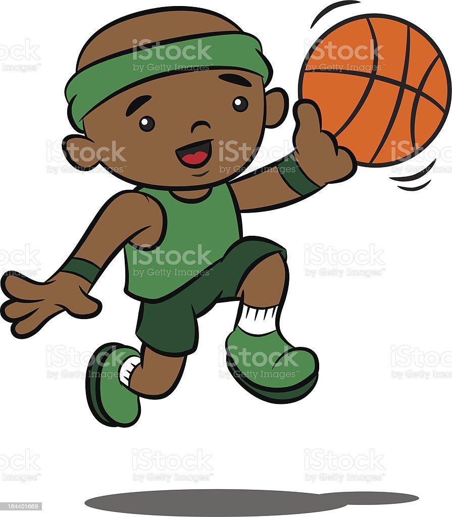 Cute Cartoon Boy Playing Basketball royalty-free stock vector art