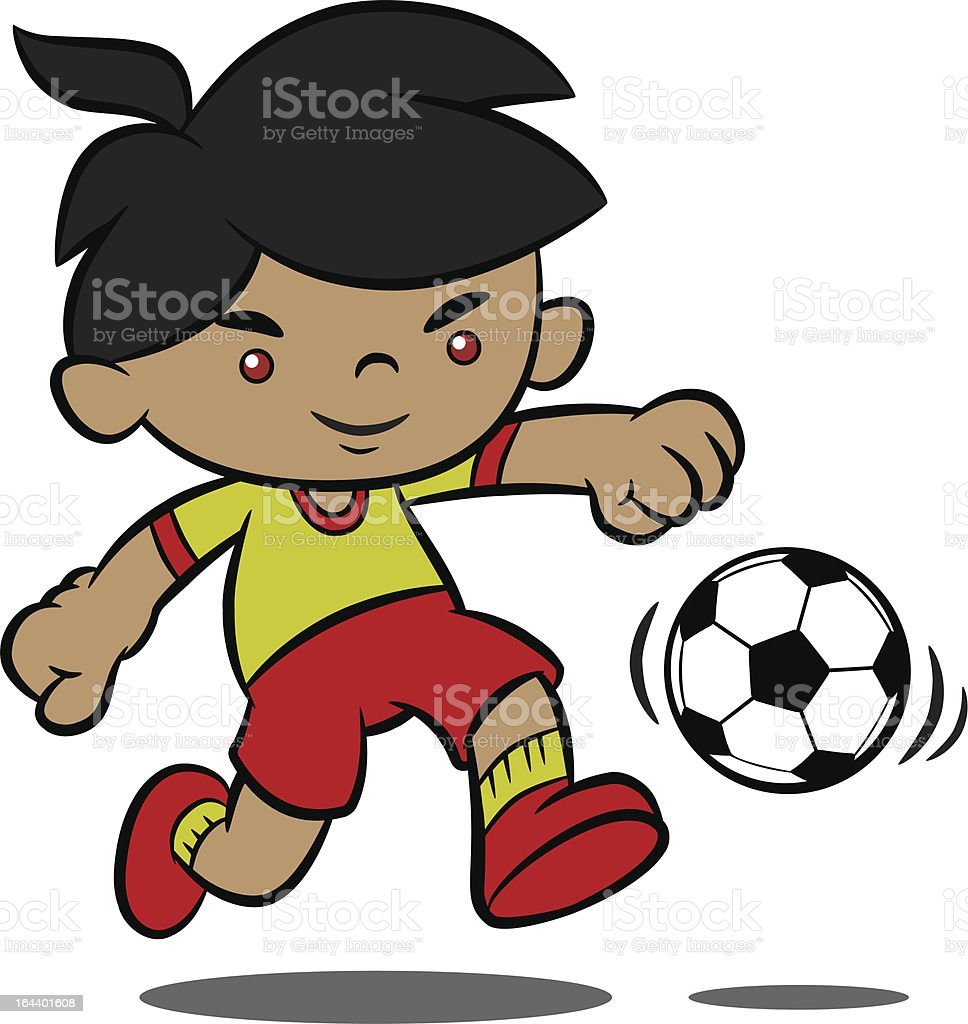 Cute Cartoon Boy Playing Soccer royalty-free stock vector art