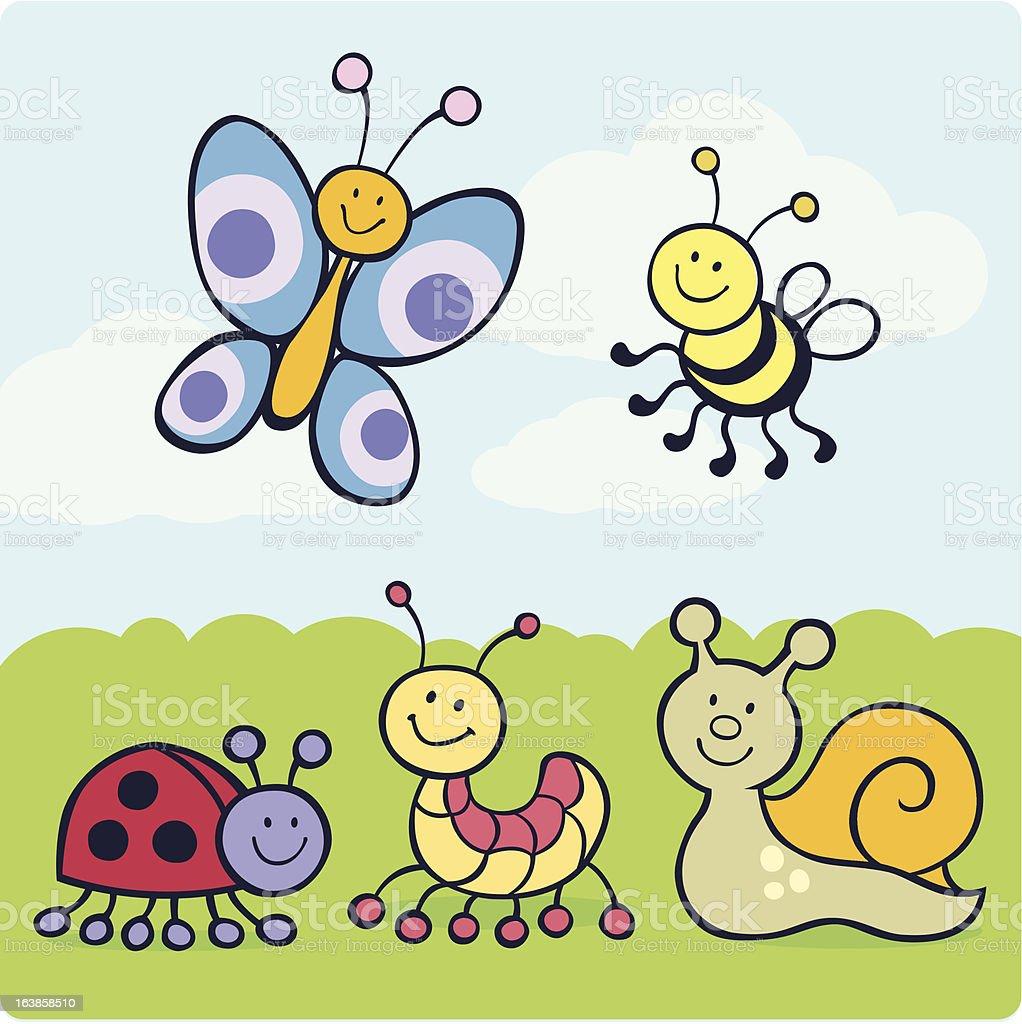 Garden Cute Cartoon: Cute Cartoon Garden Creatures Stock Vector Art 163858510
