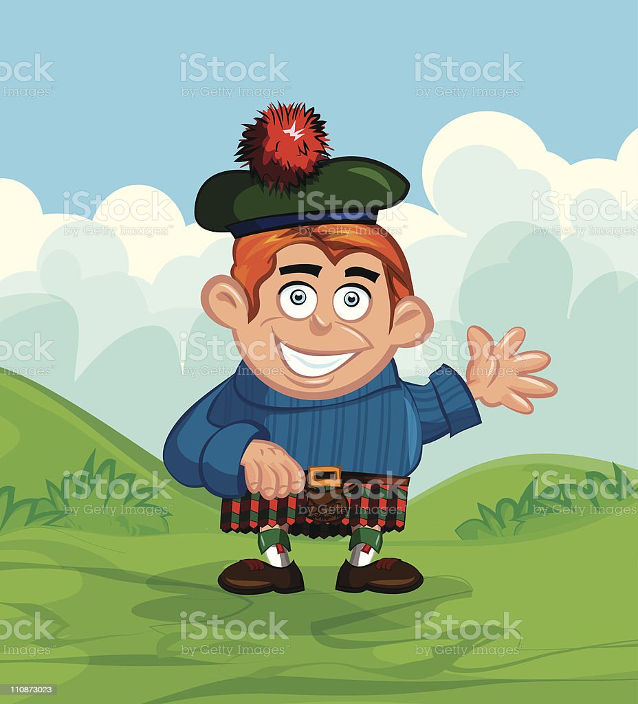 Cute cartoon Scotsman with a kilt and sporran royalty-free stock vector art