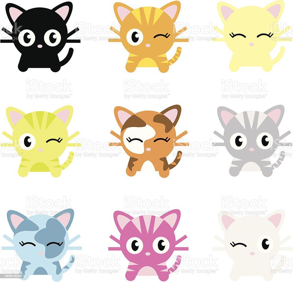 Cute Cat Characters vector art illustration
