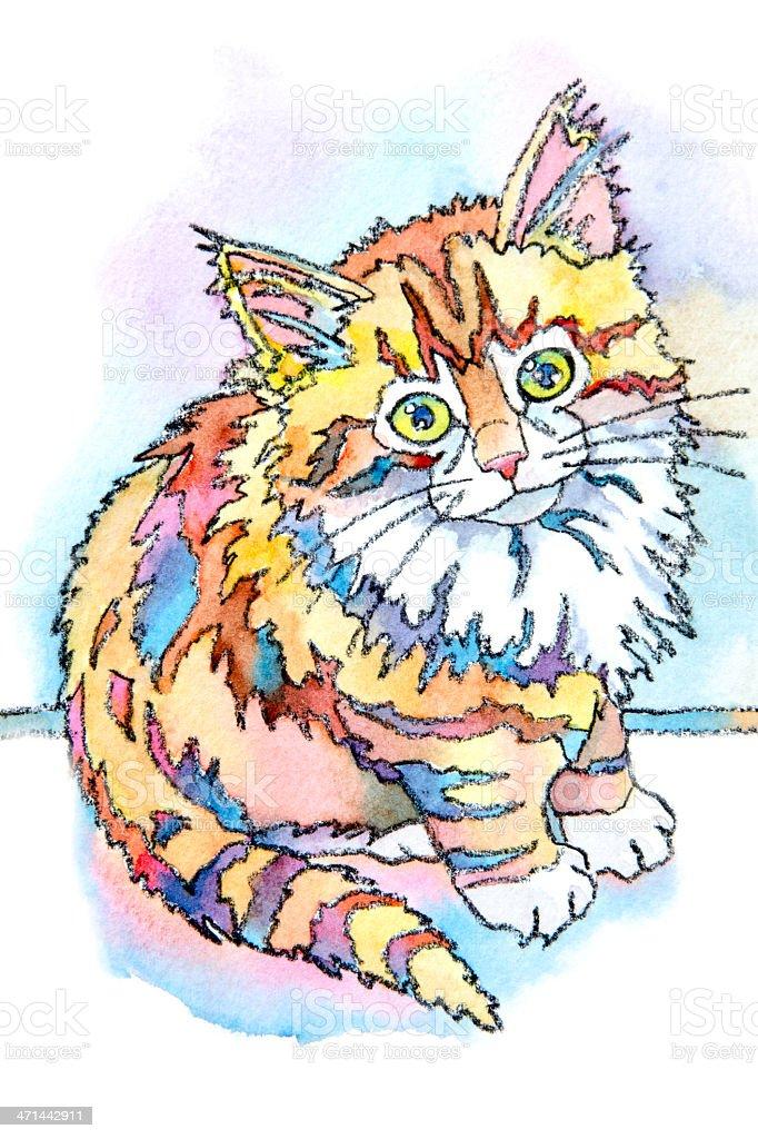 Cute Cheshire Kitten vector art illustration
