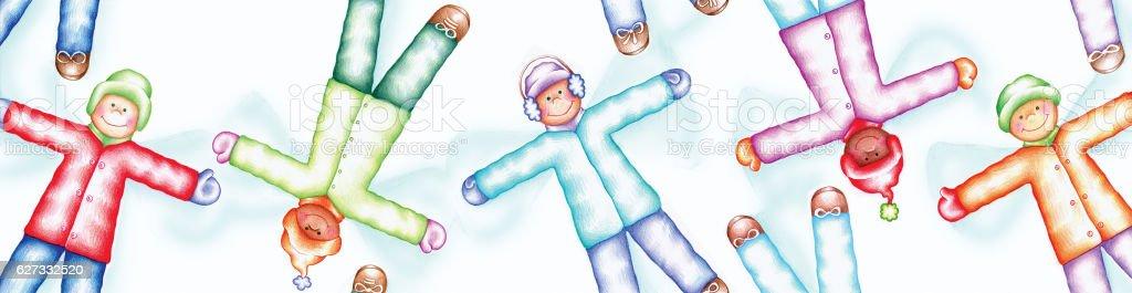 Cute Children Making Snow Angels, Vertically Seamless Pattern vector art illustration