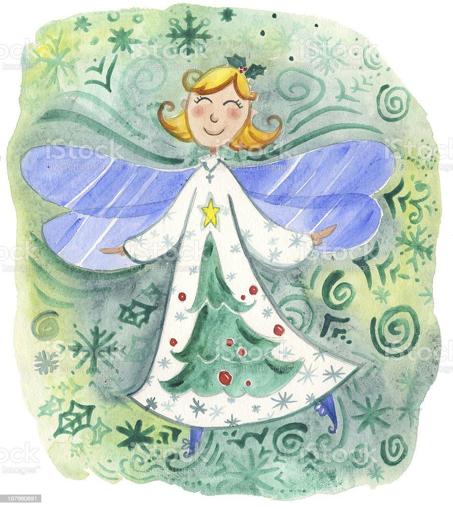 Cute Christmas Elf watercolor royalty-free stock vector art