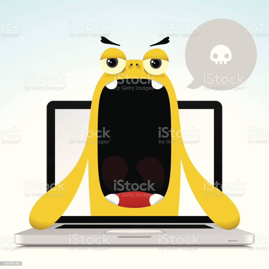 Cute Complaining Character Out Of Laptop Screen royalty-free stock vector art