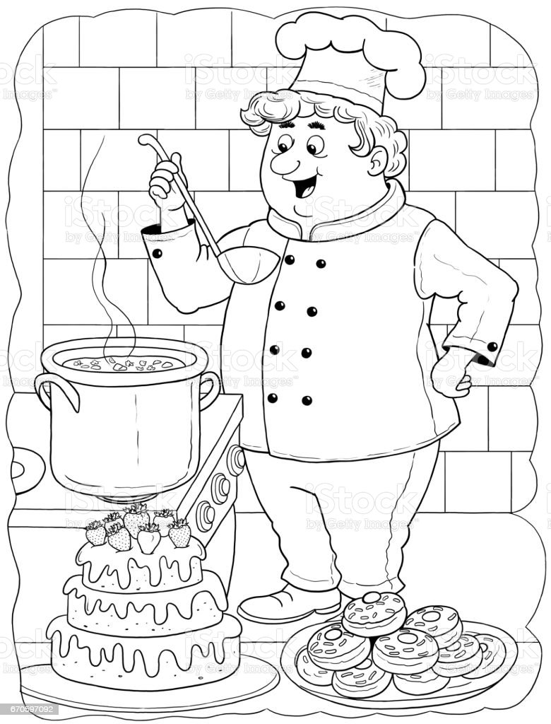 a cute cook professions illustration for children coloring page
