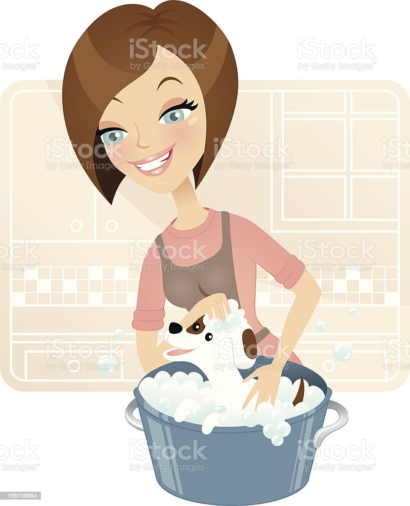 Cute dog groomer royalty-free stock vector art