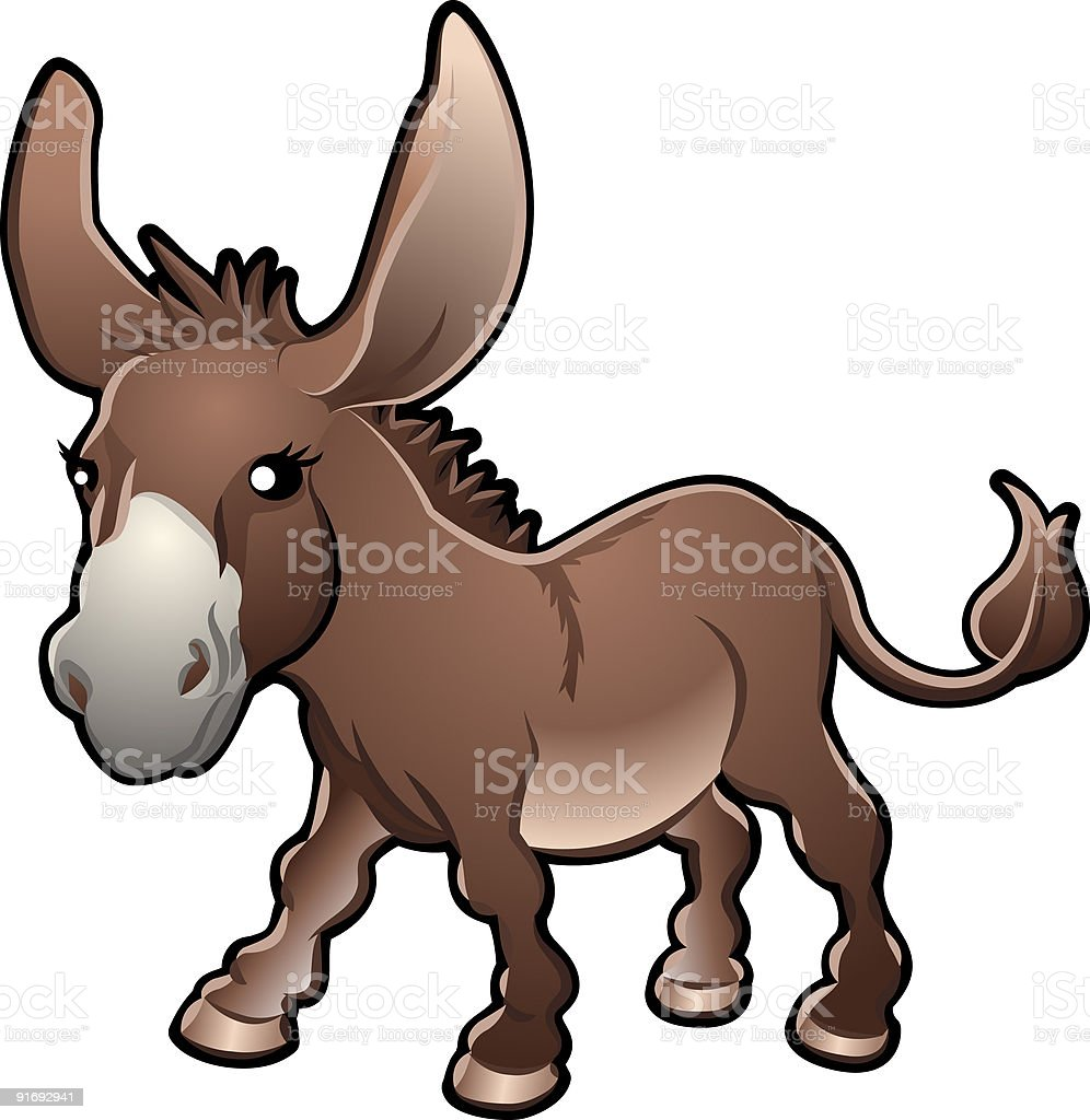 Cute Donkey Vector Illustration royalty-free stock vector art