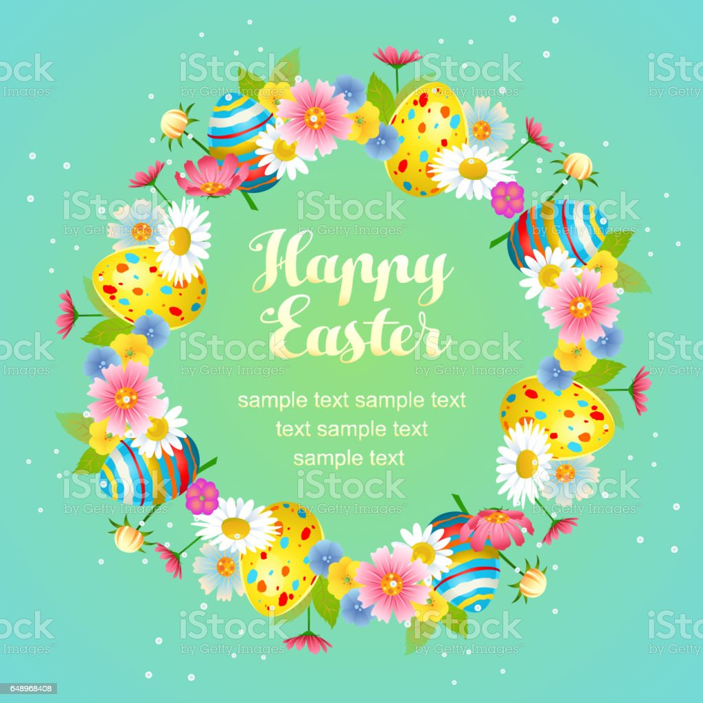 cute easter floral with egg wreath vector art illustration