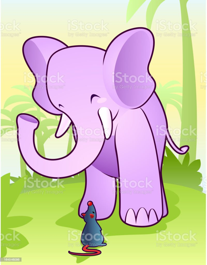 Cute elephant playing with rat mouse in the jungle royalty-free stock vector art