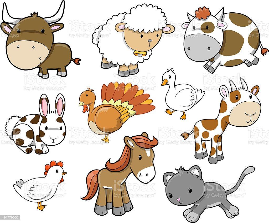 Cute Farm Set royalty-free stock vector art