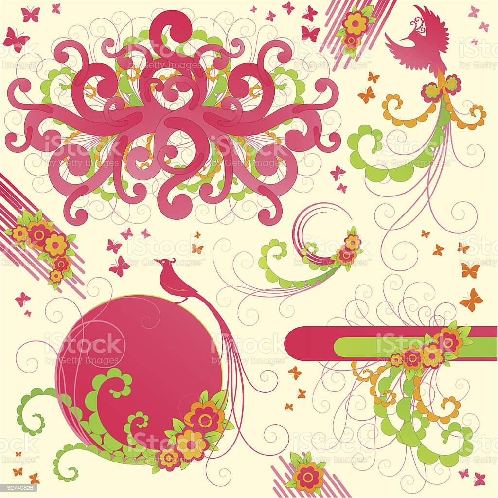 Cute floral design elements. royalty-free stock vector art