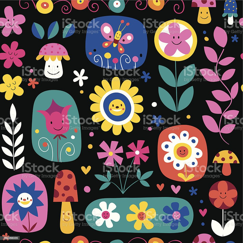 cute flowers pattern royalty-free stock vector art