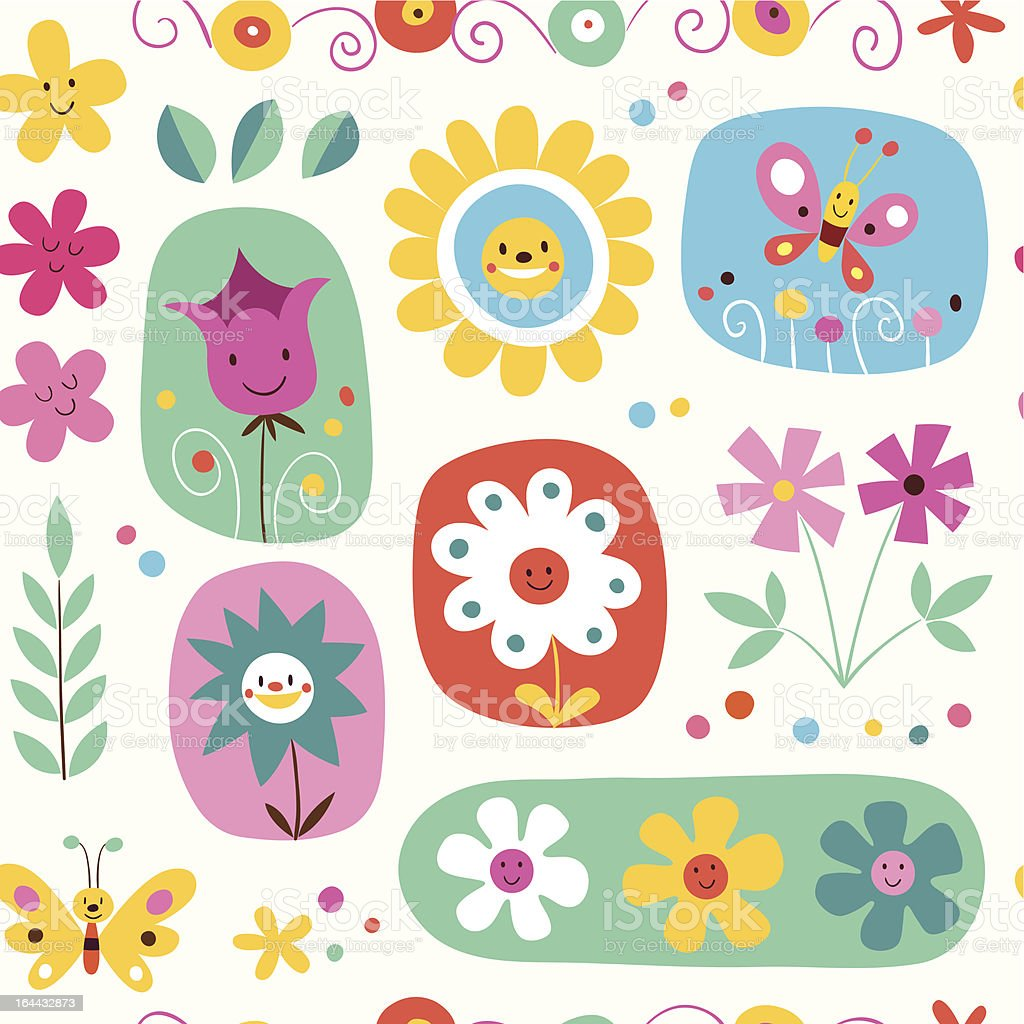cute flowers seamless pattern royalty-free stock vector art