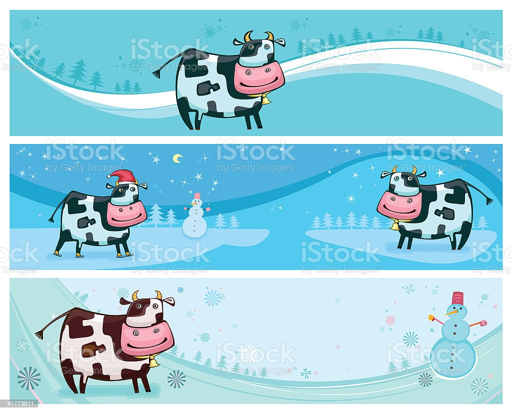 Cute friendly cow banners. royalty-free stock vector art