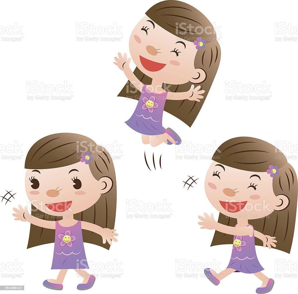cute girl jumping and walking royalty-free stock vector art