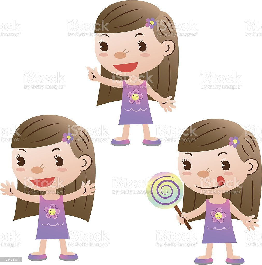 Cute girl pointing and take the lollipop royalty-free stock vector art