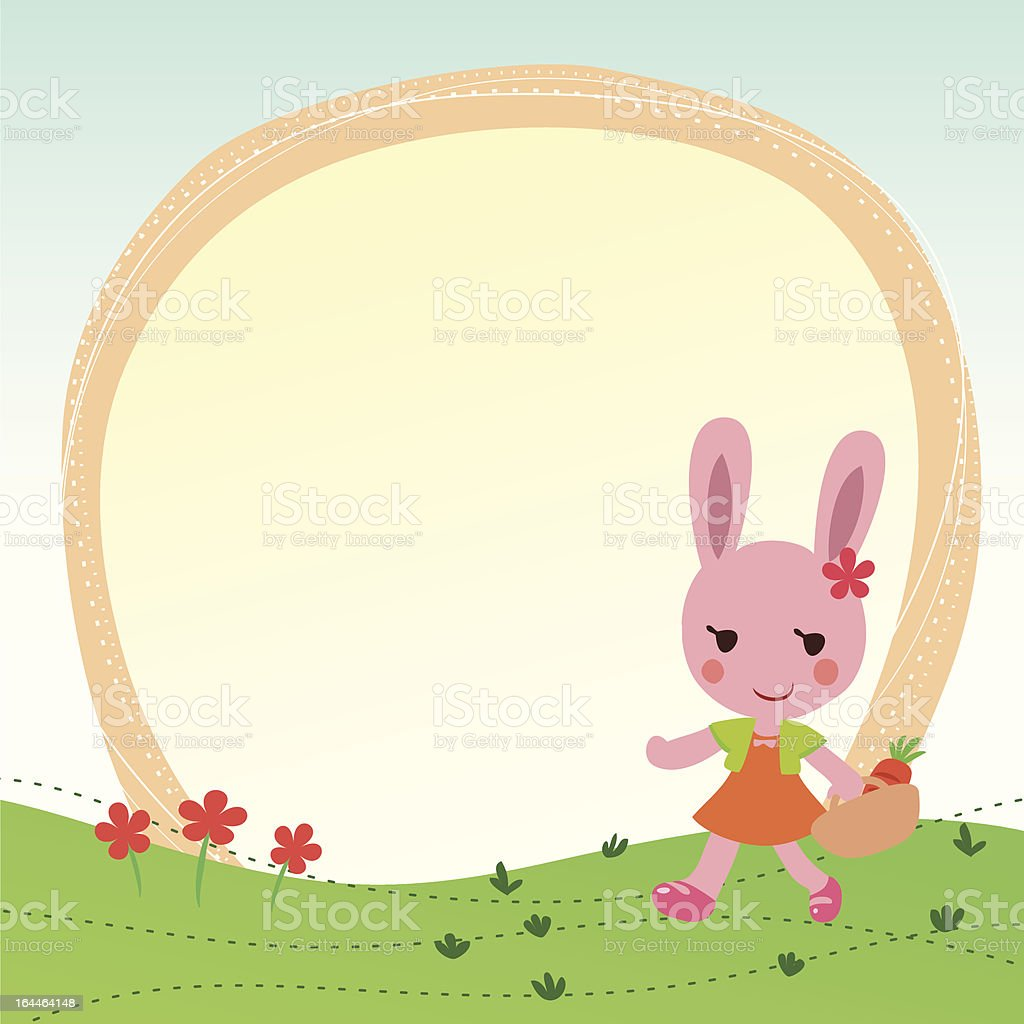 cute greeting card or Photo Frame with bunny royalty-free stock vector art