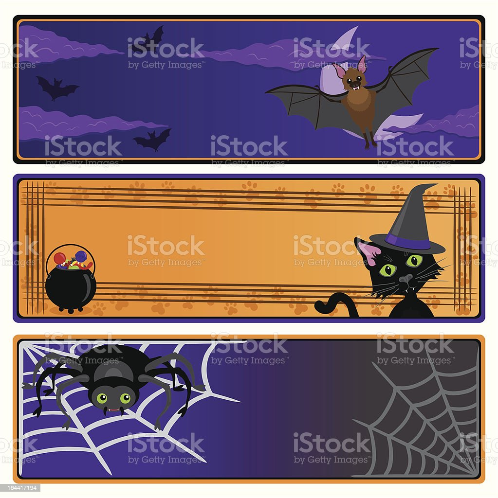 Cute Halloween banners with copy space royalty-free stock vector art