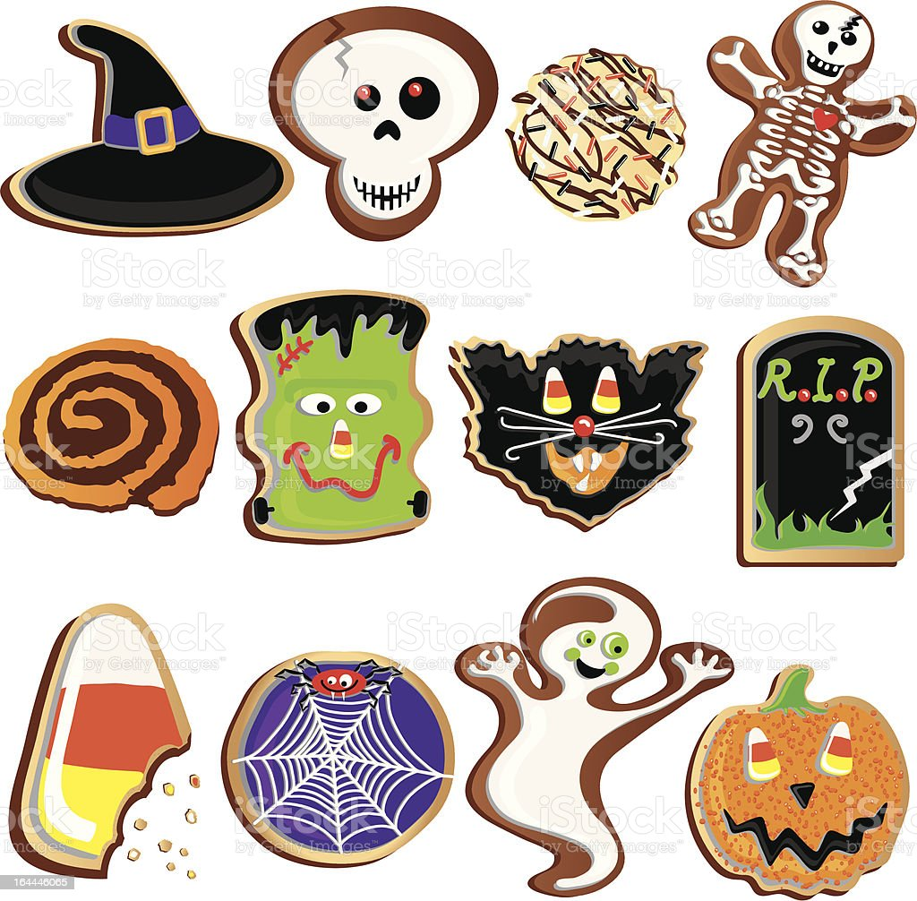 Cute Halloween Cookies Clipart Elements and Icons royalty-free stock vector art
