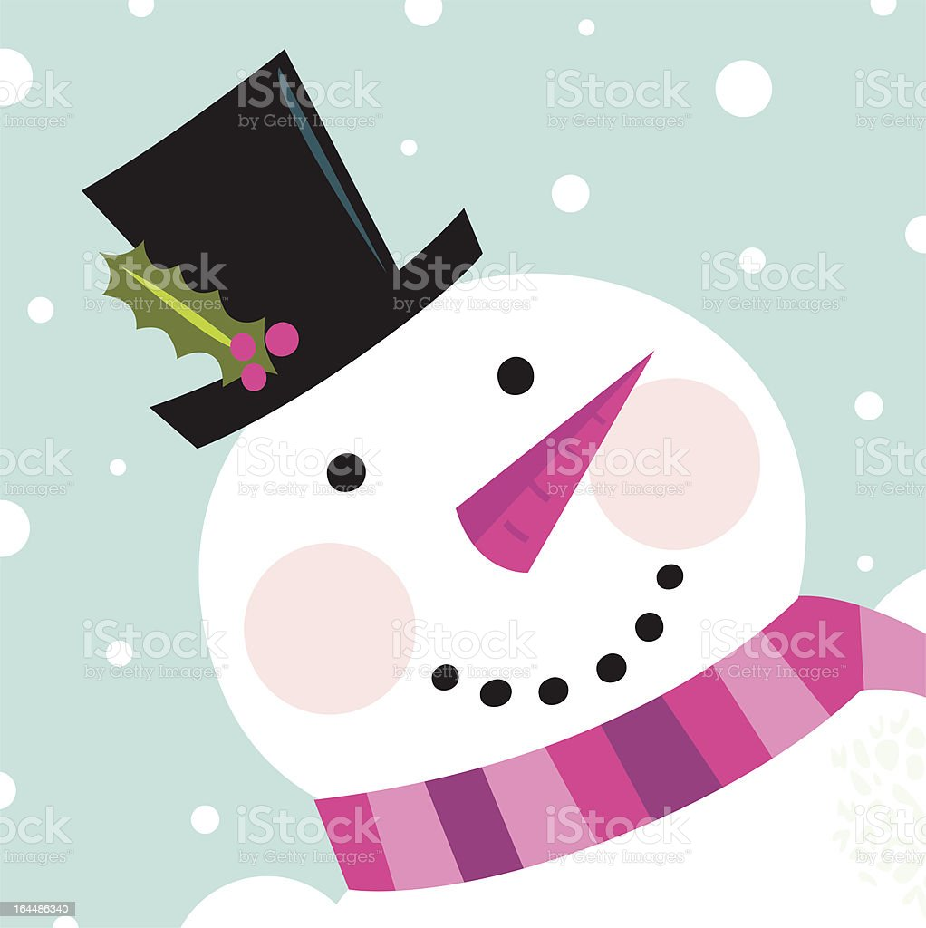 Cute happy Snowman face with snowing background royalty-free stock vector art