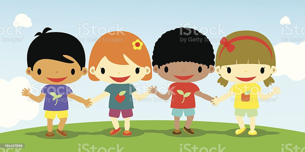 cute kids holding hands royalty-free stock vector art