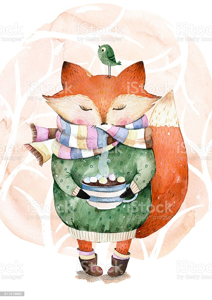 Cute little fox just like to drink hot coffee.Watercolor illustration vector art illustration