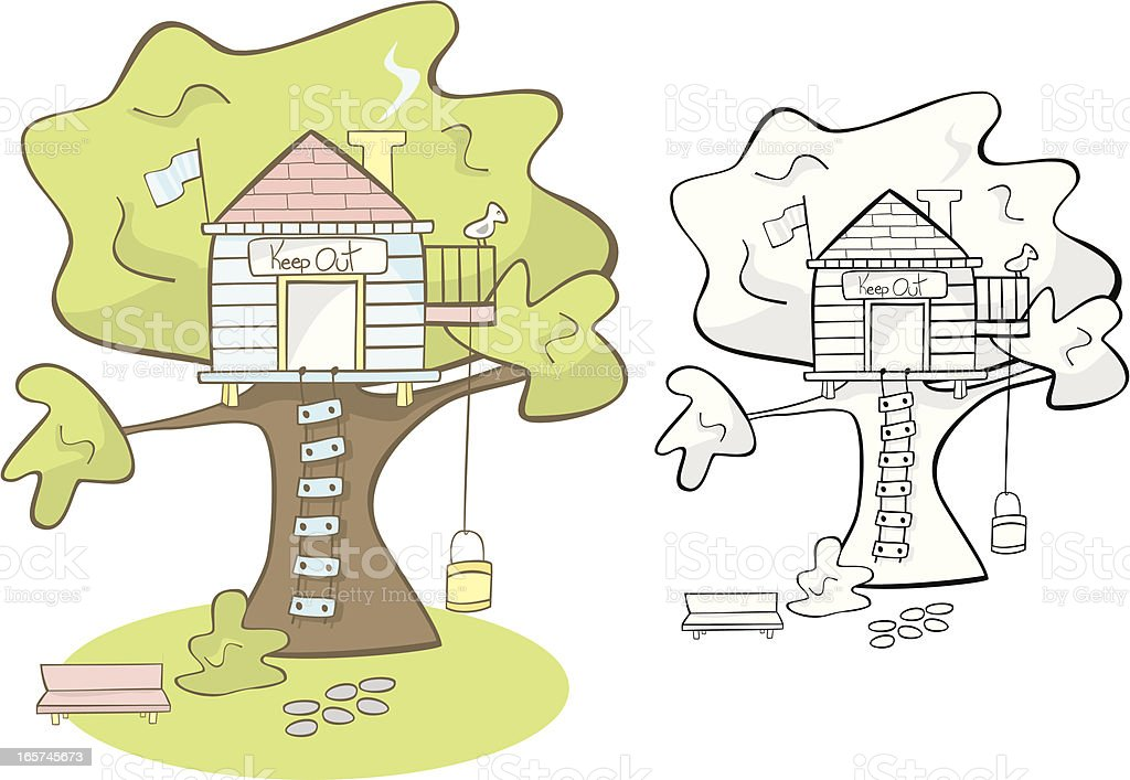 Cute little Tree house vector art illustration