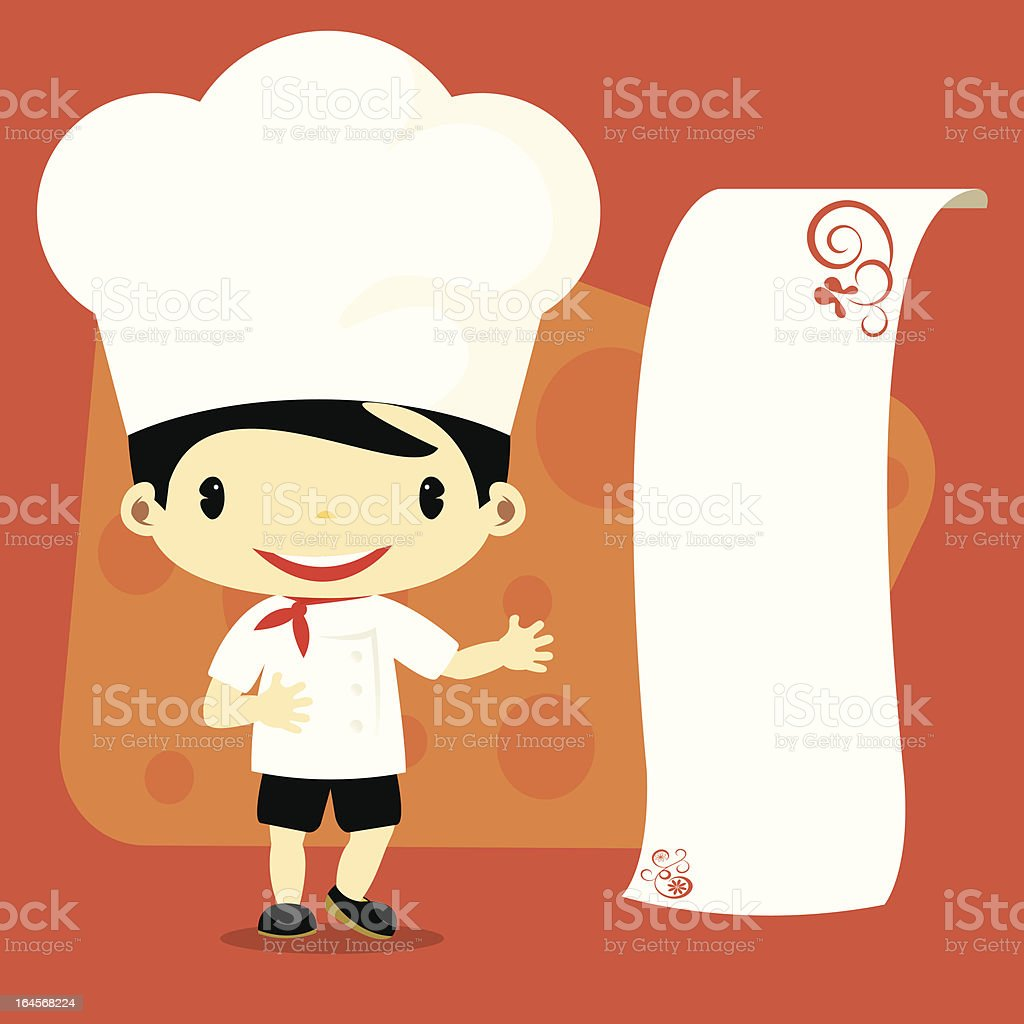 Cute male chef presenting menue or message royalty-free stock vector art