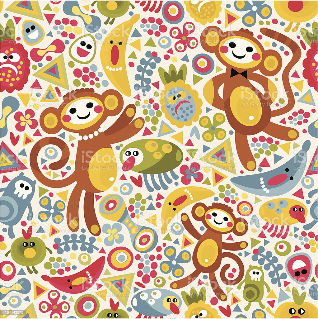 Cute monsters and animals seamless pattern. royalty-free stock vector art