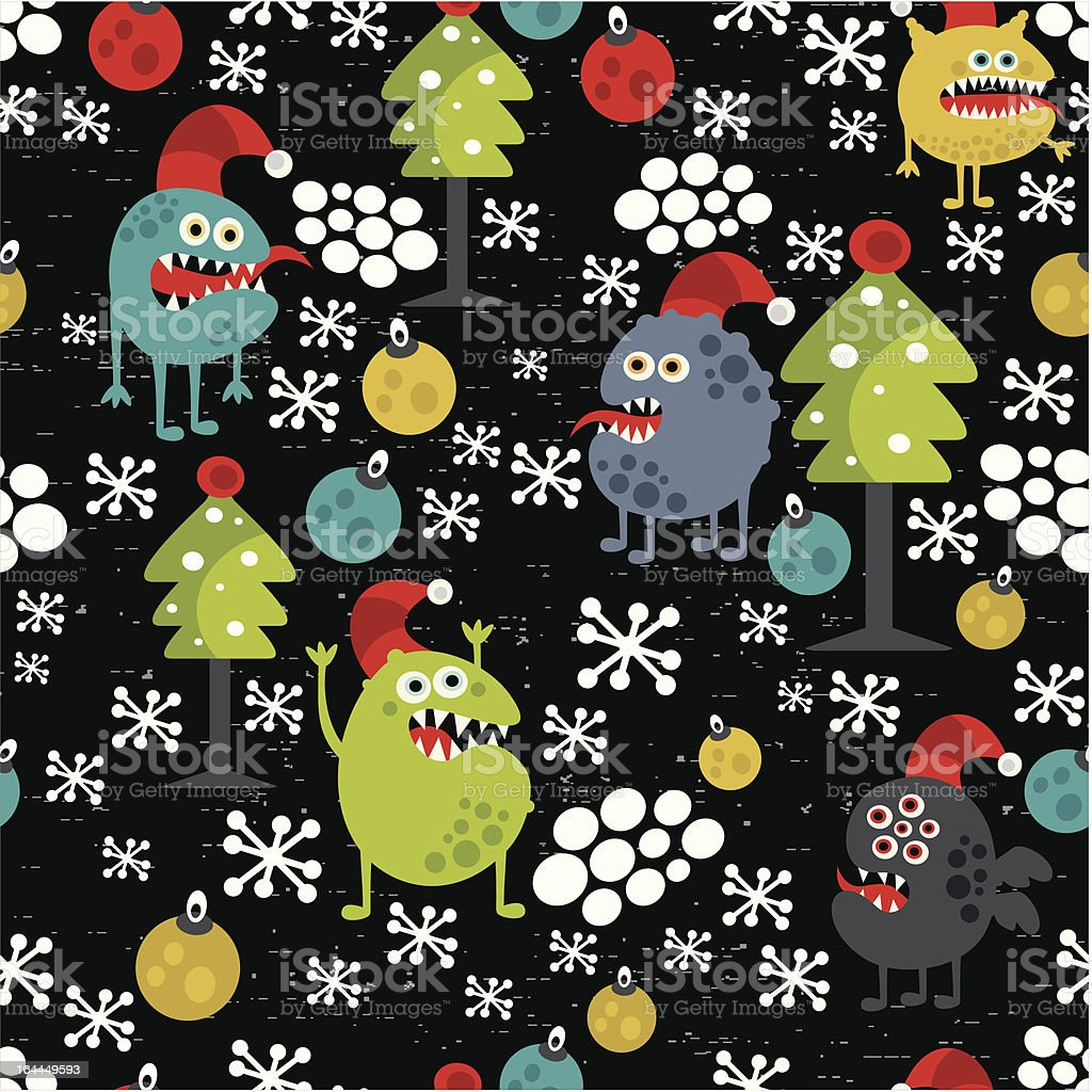 Cute monsters and Christmas seamless pattern. royalty-free stock vector art