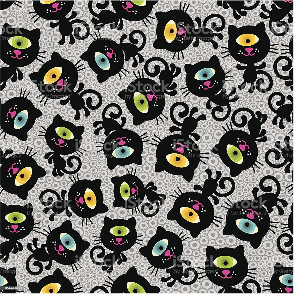 Cute monsters cats seamless pattern. royalty-free stock vector art