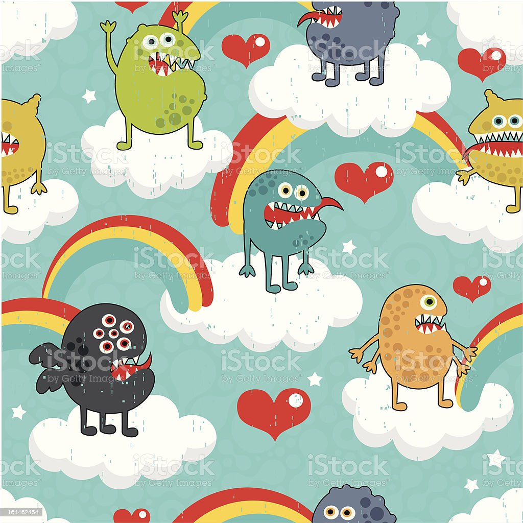 Cute monsters on clouds seamless texture. royalty-free stock vector art
