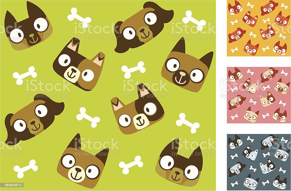 Mignon chiot chiens (motif sans couture stock vecteur libres de droits libre de droits