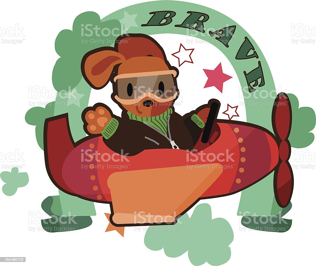 Cute puppy on flying plane royalty-free stock vector art