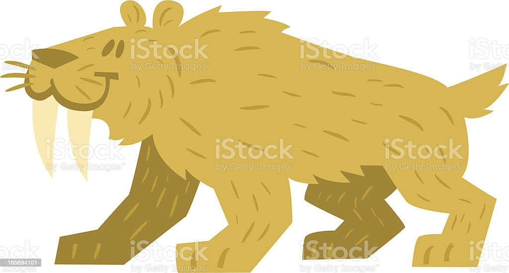 cute sabretooth vector art illustration