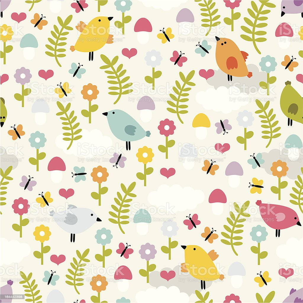 Cute seamless pattern with birds, flowers and mushrooms. royalty-free stock vector art