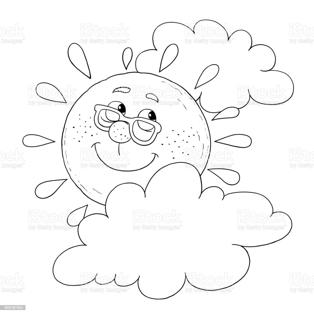 cute sun in the sky in fine weather illustration for children