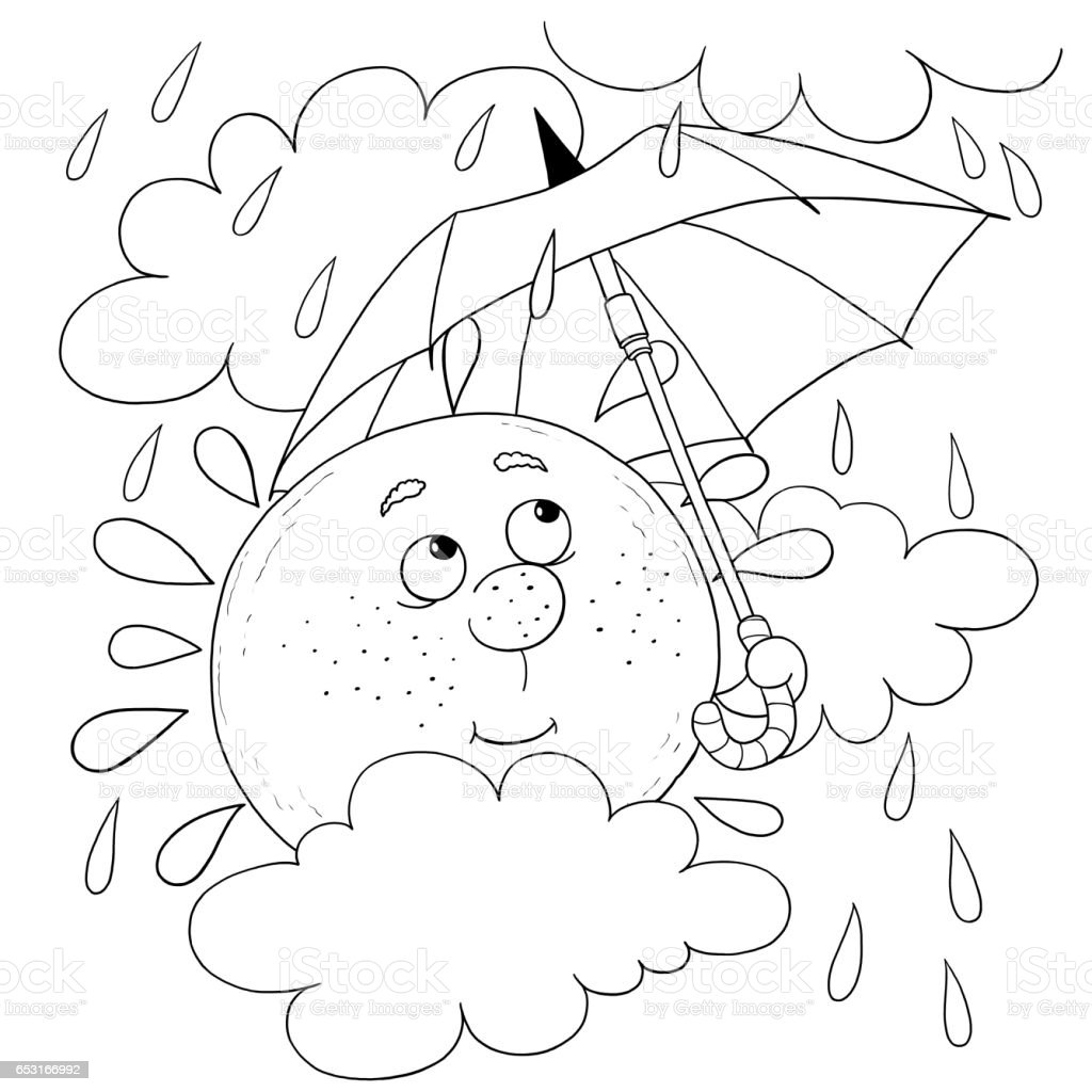 cute sun in the sky in rainy weather illustration for children