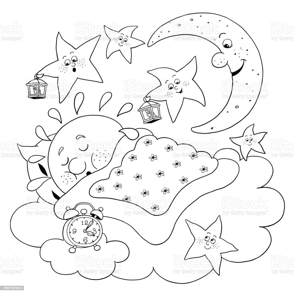 cute sun sleeping in the sky moon and stars singing lullaby