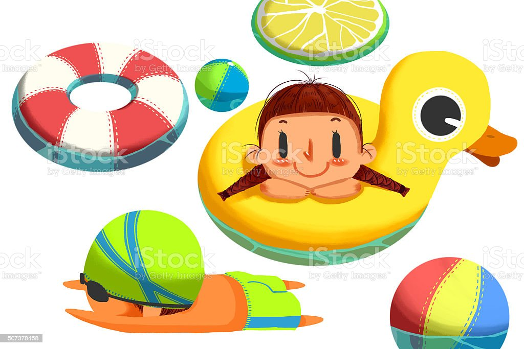 Cute Swimming Girl and Boy isolated in White Background. vector art illustration