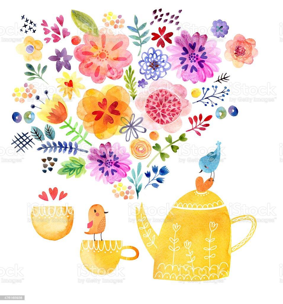 Cute watercolor card vector art illustration