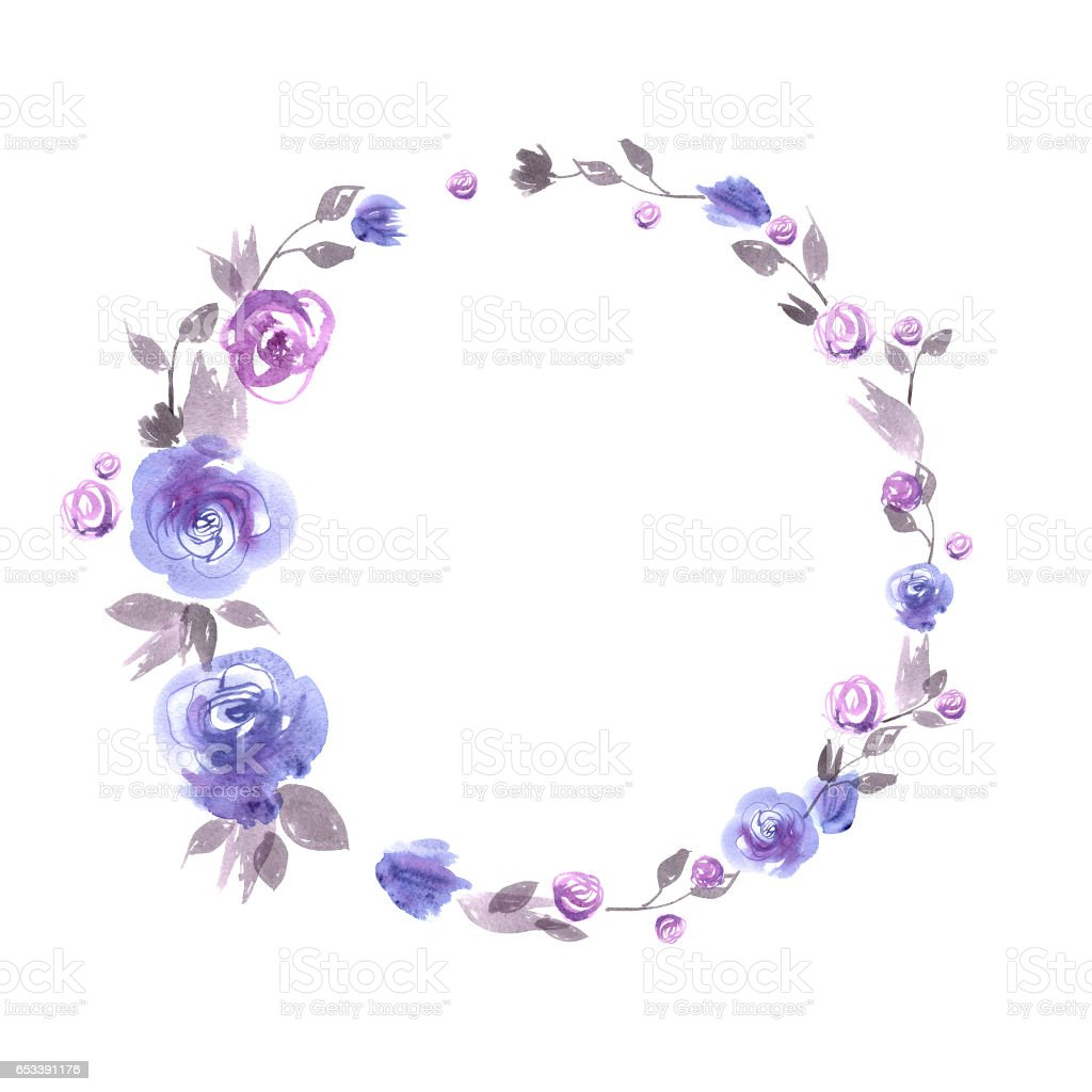 Cute Watercolor Flower Frame Background With Blue Roses