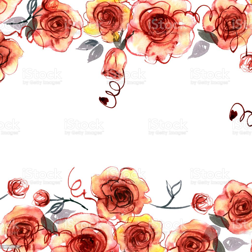 Cute watercolor hand painted background with orange roses vector art illustration