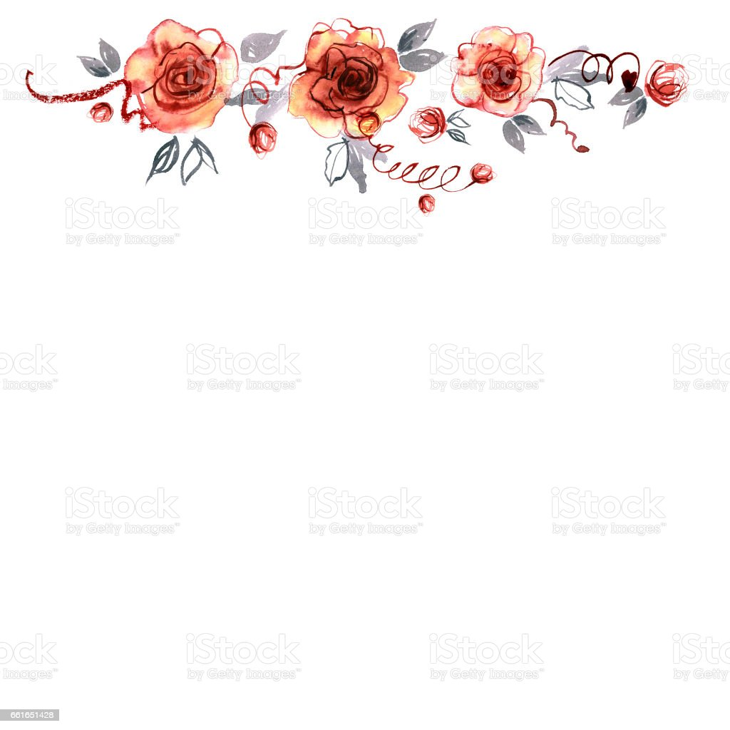 Cute watercolor hand painted border with orange roses vector art illustration